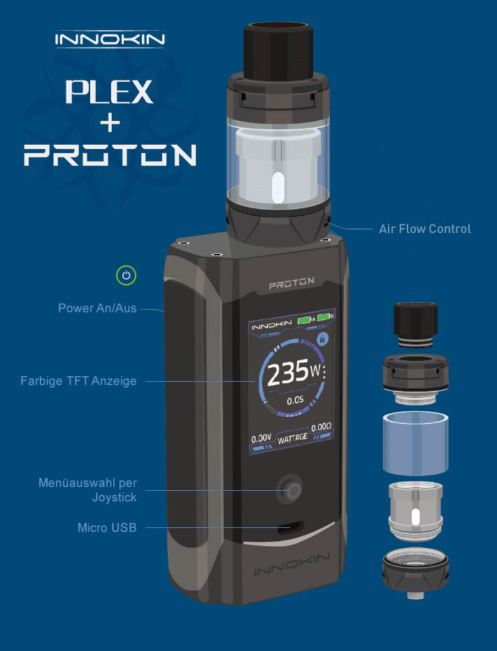 Innokin Proton Plex Bedienungselemente
