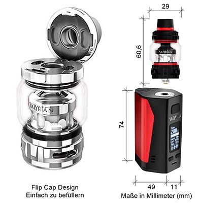 UWELL FLip Cap Design / Maße