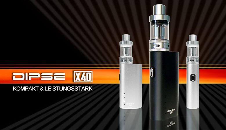 Mit dem DIPSE X40 Box Kit erhalten Sie eine leistungsfähige e-Zigarette zum kleinen Preis. 40W. 2200mAh.