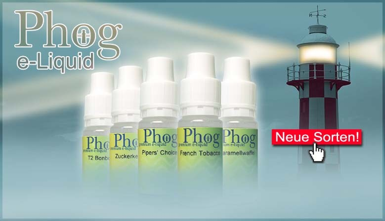 Phog e-Liquid ist in drei Sorten erhältlich. Mit Nikotin in zwei Stärken und Nikotinfrei.
