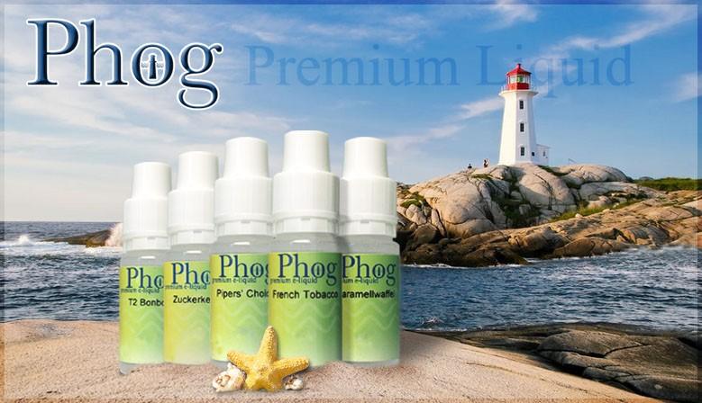 Phog e-Liquid ist in vielen Geschmacksrichtungen und in drei Nikotinstärken erhältlich.